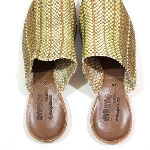 Cydwoq Shoes - Cydwoq Leather Stripe Woven Orient Mules Sandal